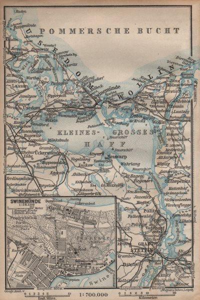 Associate Product SWINOUJSCIE city plan & ZALEW SZCZECINSKI environs. Stettin Swinemünde 1904 map