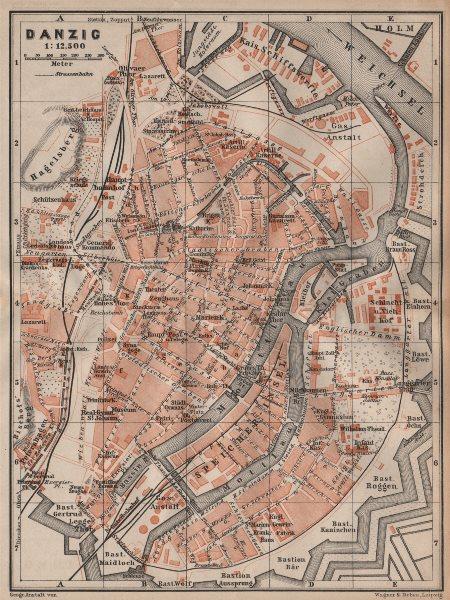 Associate Product GDANSK antique town city plan miasta. Gdańsk Danzig. Poland mapa 1904 old