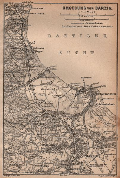 Associate Product GDANSK & environs. Zoppot Sopot Danzig Gdańsk. Poland mapa. BAEDEKER 1904