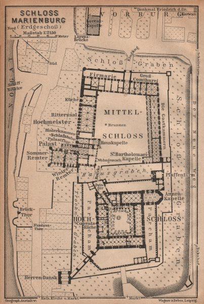 Associate Product ZAMEK W MALBORKU. Ordensburg Marienburg. Malbork Castle plan. Poland 1904 map