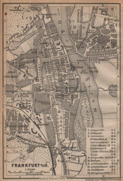 FRANKFURT AN DER ODER antique town city stadtplan. Hessen karte 1904 old map