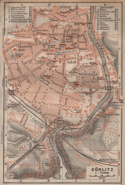 Associate Product GÖRLITZ antique town city stadtplan. Saxony karte. BAEDEKER 1904 old map