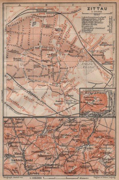 Associate Product ZITTAU antique town city stadtplan. Mountains Oybin. Saxony . BAEDEKER 1904 map