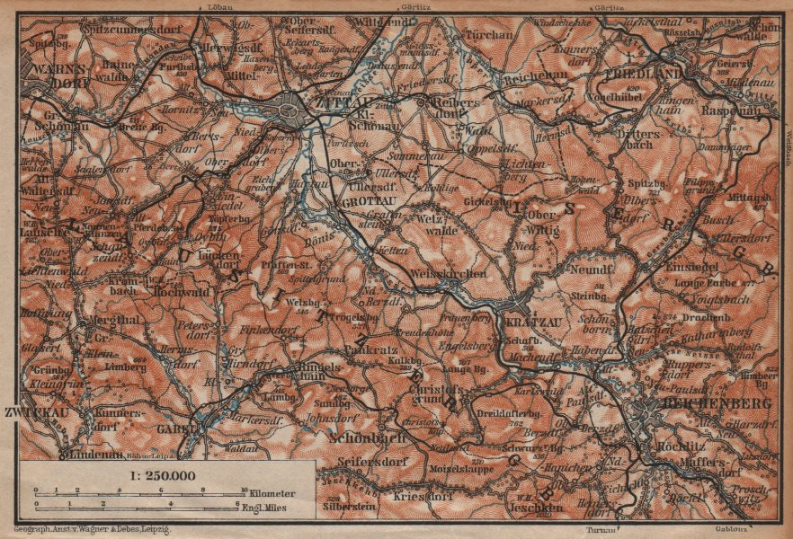 Associate Product LUSATIAN MOUNTAINS. Zittau Liberec Frydlant Bogatynia Luzicke hory 1904 map