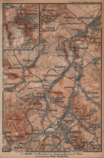 Associate Product Swiebodzice Walbrzych Pelcznica Zamek Ksiaz/Książ Castle. Poland karte 1904 map
