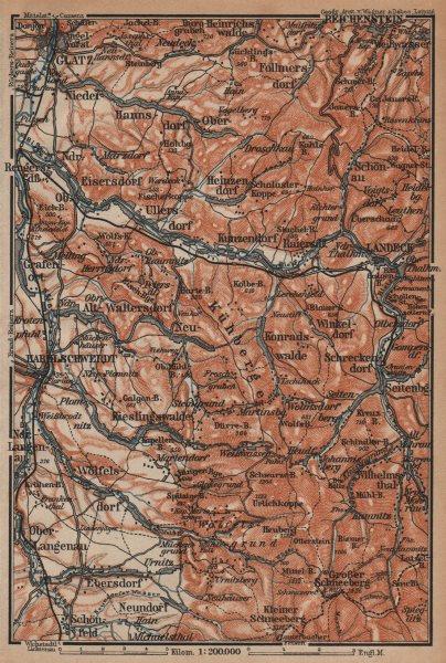 Associate Product KLODZKO LAND. Snieznik Śnieżnicki Bystrzyca Klodzka. Poland. BAEDEKER 1904 map