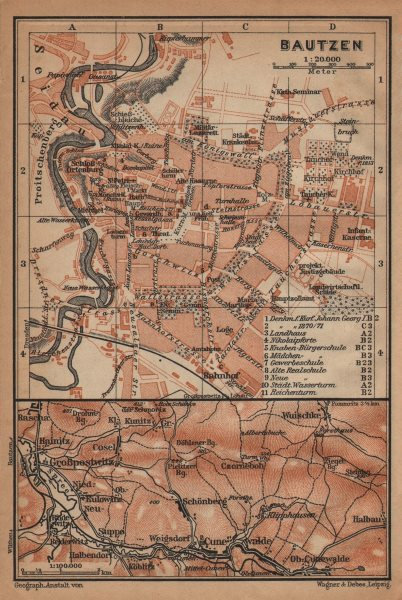 Associate Product BAUTZEN antique town city stadtplan Czorneboh Großpostwitz Sorbian area 1904 map