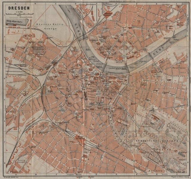 Associate Product DRESDEN antique town city stadtplan. Saxony karte. BAEDEKER 1904 old map
