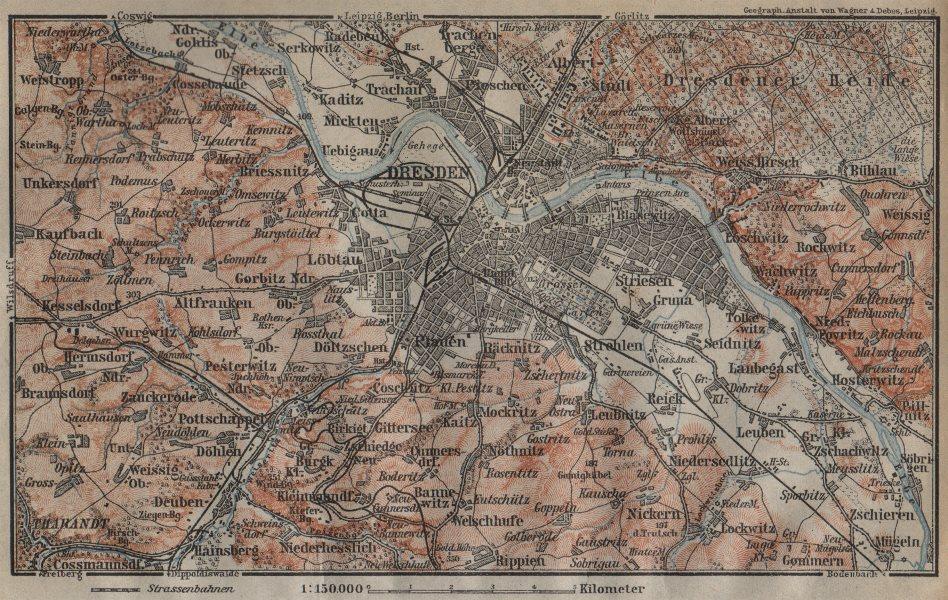 Associate Product DRESDEN & environs/umgebung. Saxony karte. BAEDEKER 1904 old antique map chart