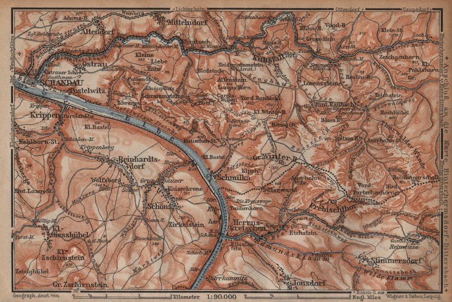 BAD SCHANDAU environs/umgebung. Sächsische schweiz. Deutschland karte 1904 map