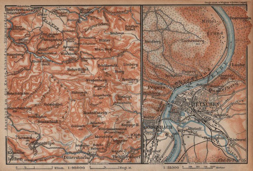 Associate Product CZECH/BOHEMIAN SWITZERLAND. Tetschen/DECIN Děčín town city plan 1904 old map