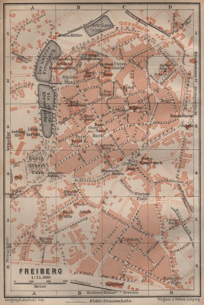 Associate Product FREIBERG antique town city stadtplan. Saxony karte. BAEDEKER 1904 old map
