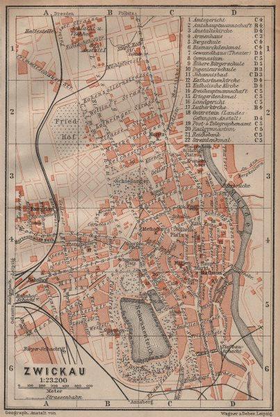 Associate Product ZWICKAU antique town city stadtplan. Saxony karte. BAEDEKER 1904 old map