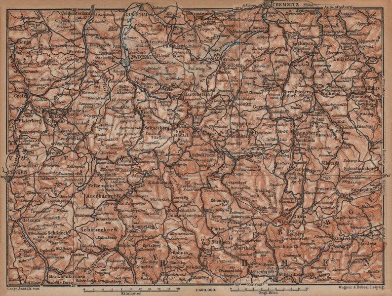 Associate Product ORE MOUNTAINS. Erzgebirge Krusne hory Chemnitz Zwickau Plauen Glauchau 1904 map