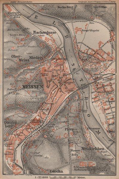 Associate Product MEISSEN Meißen town city stadtplan & environs/umgebung. Cölln. Saxony 1904 map