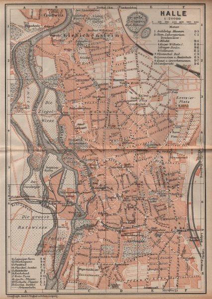 Associate Product HALLE antique town city stadtplan. Saxony-Anhalt karte. BAEDEKER 1904 old map