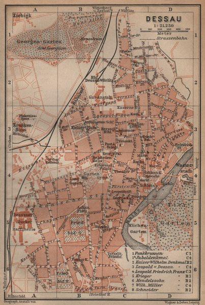 Associate Product DESSAU antique town city stadtplan. Saxony-Anhalt karte. BAEDEKER 1904 old map