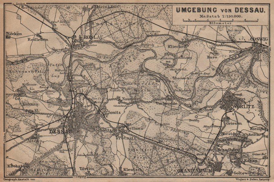Associate Product DESSAU environs/umgebung. Roslau Roßlau Worlitz Coswig Oranienbaum 1904 map