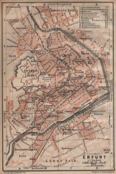 Associate Product ERFURT antique town city stadtplan. Thuringia karte. BAEDEKER 1904 old map