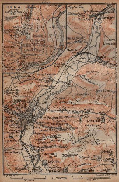 Associate Product JENA & environs/umgebung. Dornburg. Thuringia karte. BAEDEKER 1904 old map