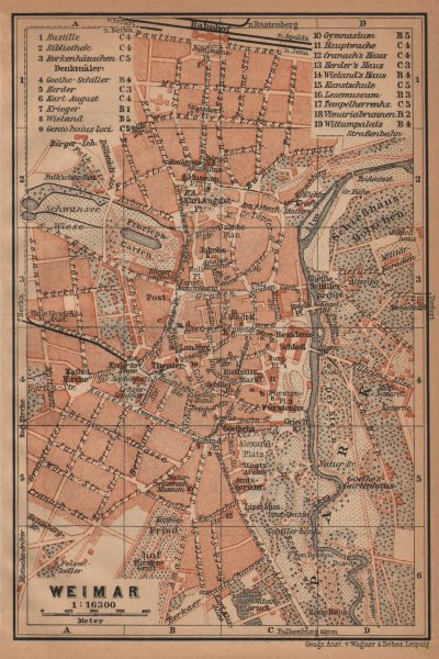 Associate Product WEIMAR antique town city stadtplan. Thuringia karte. BAEDEKER 1904 old map