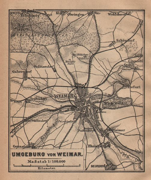 Associate Product WEIMAR environs/umgebung. Thuringia. BAEDEKER 1904 old antique map plan chart