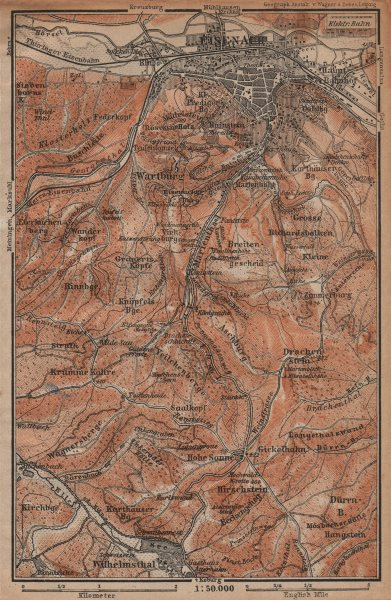 Associate Product EISENACH & environs/umgebung. Wartburg. Thuringia karte. BAEDEKER 1904 old map