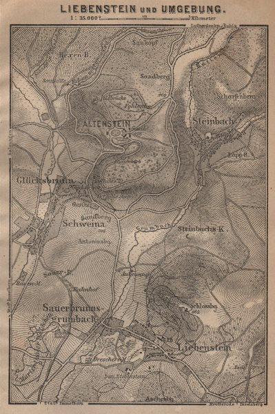 Associate Product LIEBENSTEIN & environs/umgebung. Altenstein. Thuringia karte. SMALL 1904 map