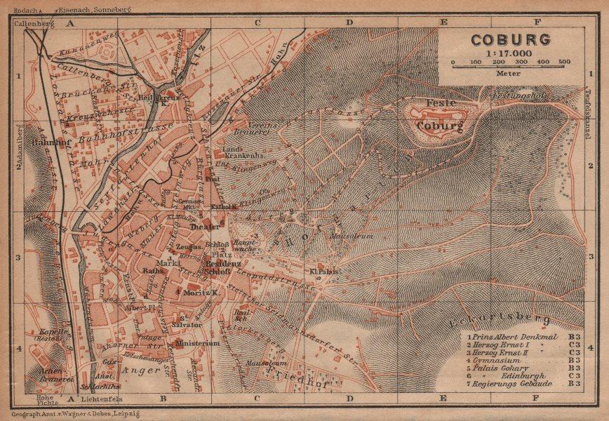 Associate Product COBURG antique town city stadtplan & environs/umgebung. Bavaria karte 1904 map