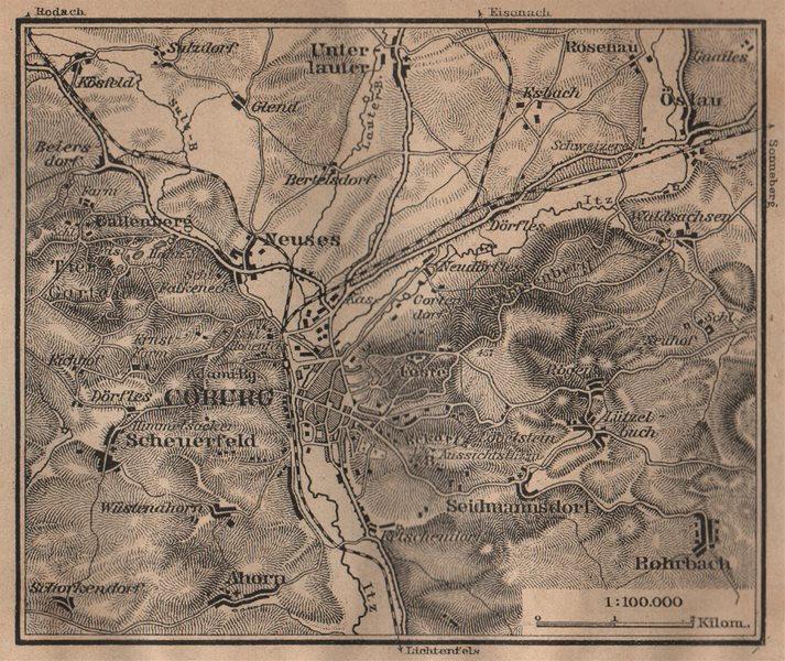 COBURG environs/umgebung. Bayern Bavaria. BAEDEKER 1904 old antique map chart