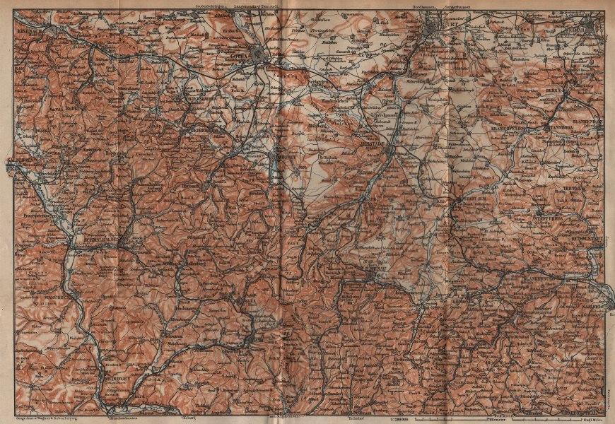 Associate Product THÜRINGER WALD. Thuringian Forest. Gotha Eisenach Erfurt Weimar karte 1904 map