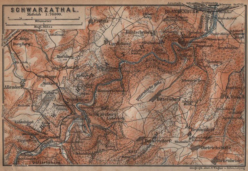 Associate Product BLANKENBURG & environs/umgebung. Schwarzatal. Thuringia karte 1904 old map