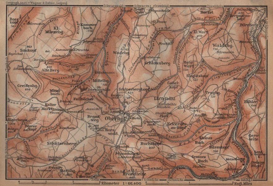 Associate Product OBERHOF environs/umgebung. Schmalkalden-Meiningen, Thuringia. BAEDEKER 1904 map