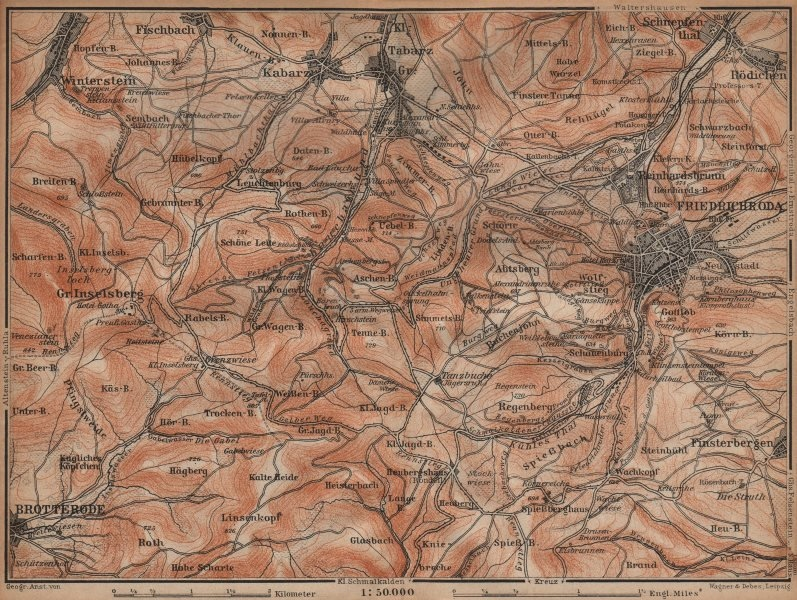 Associate Product FRIEDRICHRODA & Thüringer Wald. Brotterode Großer Inselsberg Thuringia 1904 map
