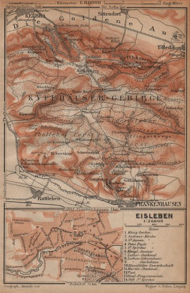 Associate Product KYFFHÄUSER-GEBIRGE. Frankenhausen Kelbra. EISLEBEN plan. Saxony-Anhalt 1904 map