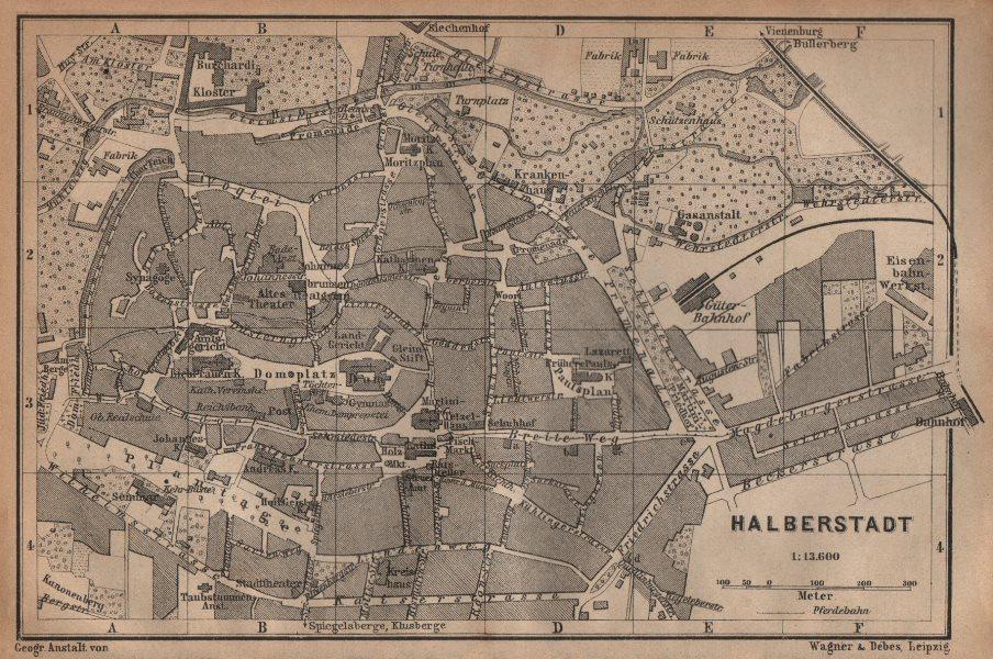 Associate Product HALBERSTADT antique town city stadtplan. Saxony-Anhalt karte. BAEDEKER 1904 map