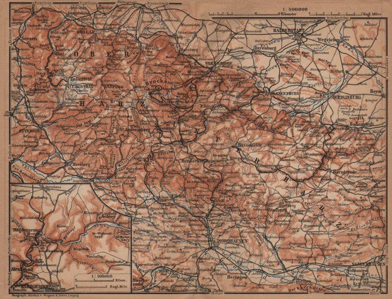 Associate Product HARZ MOUNTAINS topo-map. Harzgerode. Halberstadt Nordhausen karte 1904 old