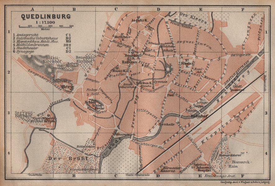 Associate Product QUEDLINBURG antique town city stadtplan. Germany karte. BAEDEKER 1904 old map