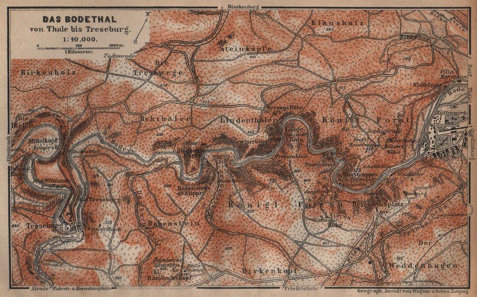 Associate Product DAS BODETHAL von Thale bis Treseburg. Bode Gorge topo-map. Harz karte 1904