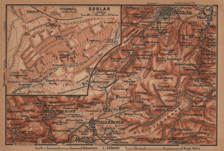 Associate Product GOSLAR town city stadtplan. Clausthal-Zellerfeld OBERHARZ mountains 1904 map