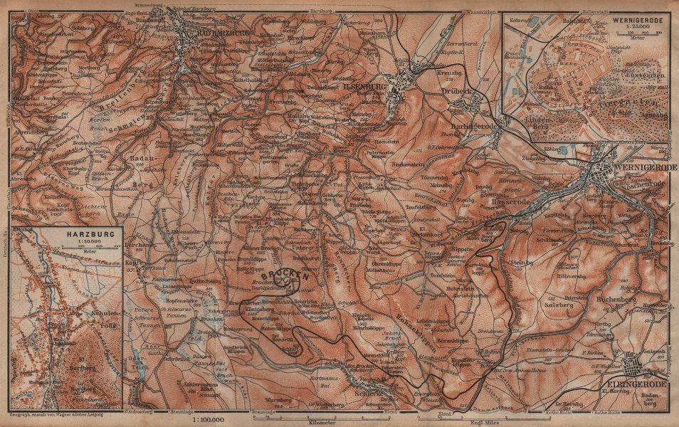 Associate Product BAD HARZBURG & WERNIGERODE town city stadtplan. HARZ MOUNTAINS. Brocken 1904 map