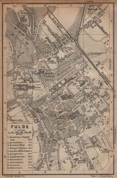 Associate Product FULDA antique town city stadtplan. Hessen karte. BAEDEKER 1904 old map