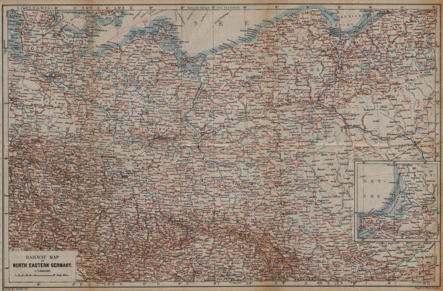NE GERMANY & POLAND Railways. Nordosten Deutschland eisenbahnen karte 1904 map