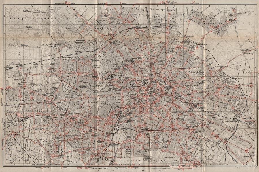 Associate Product BERLIN STRAßENBAHNNETZ. Tramway network. town city stadtplan karte 1910 map