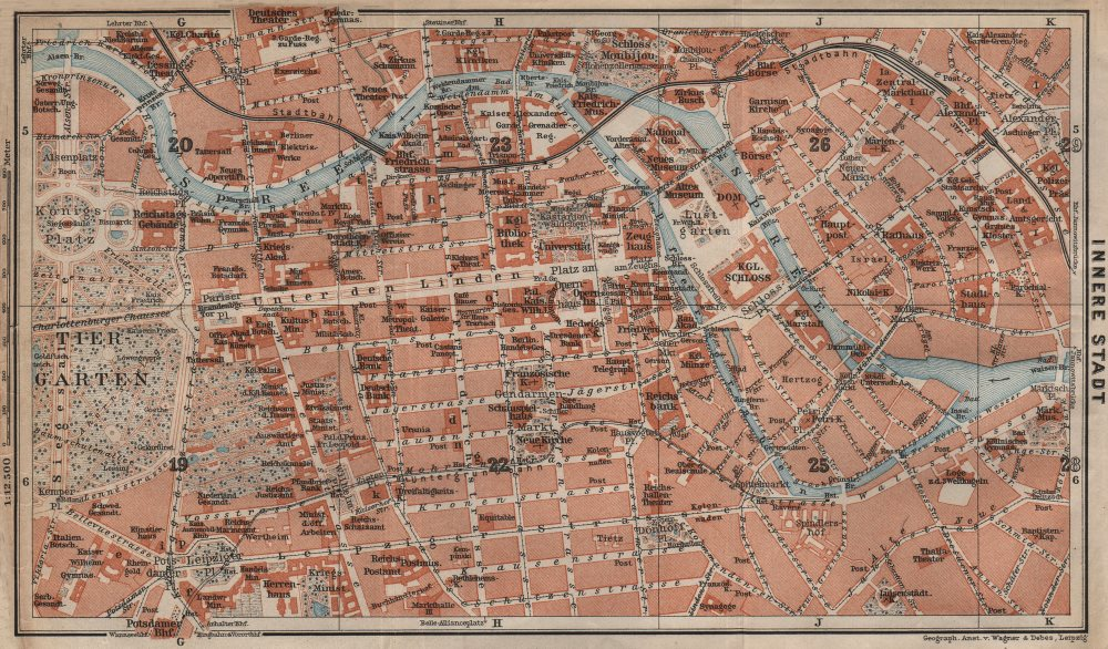 Associate Product BERLIN CENTRE INNERE STADT plan. Public buildings. Öffentliche Gebäude 1910 map