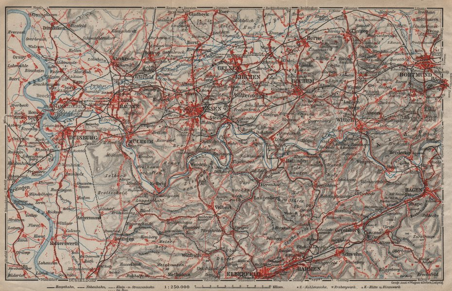 Associate Product RUHRGEBIET Eisenbahnen RUHR VALLEY Duisburg EssenBochumHerneDortmund 1910 map