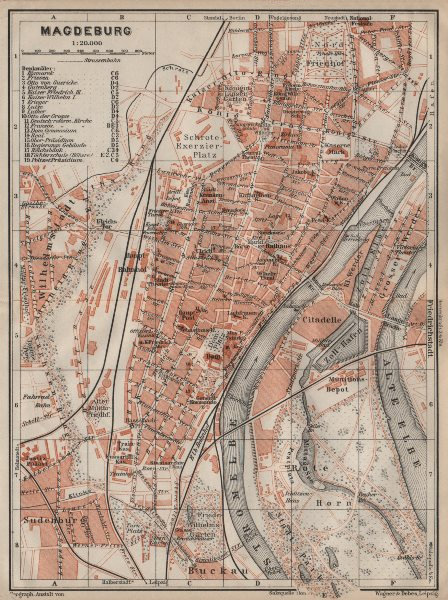Associate Product MAGDEBURG antique town city stadtplan. Saxony-Anhalt karte. BAEDEKER 1910 map