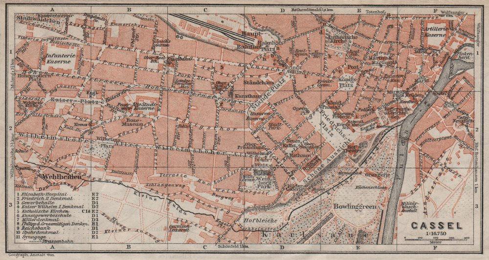 Associate Product KASSEL CASSEL antique town city stadtplan. Hesse. Germany karte 1910 old map