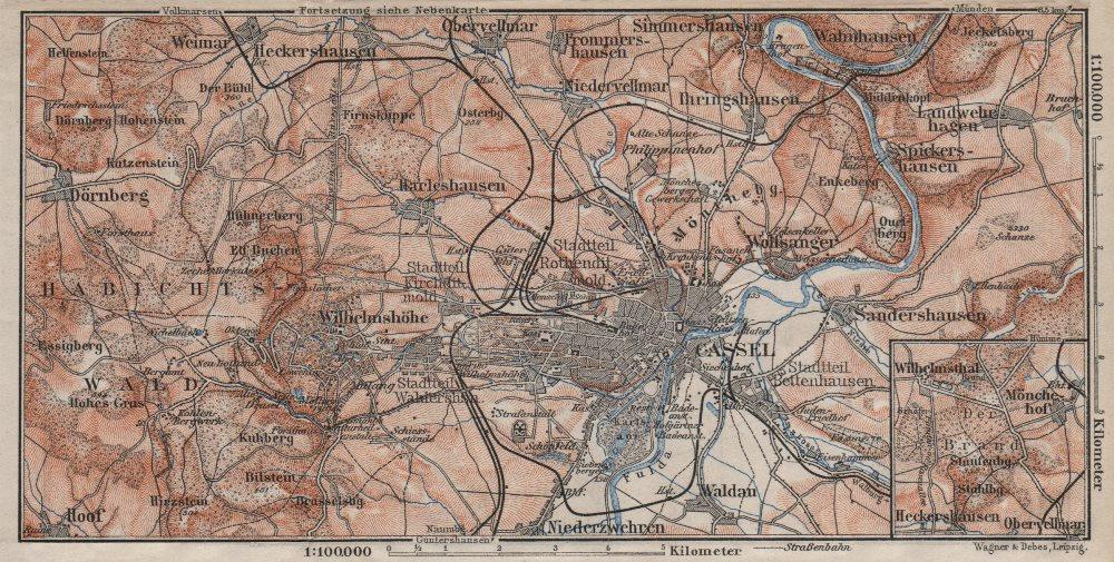 Associate Product KASSEL CASSEL & environs/umgebung. Hessen. Germany karte 1910 old antique map
