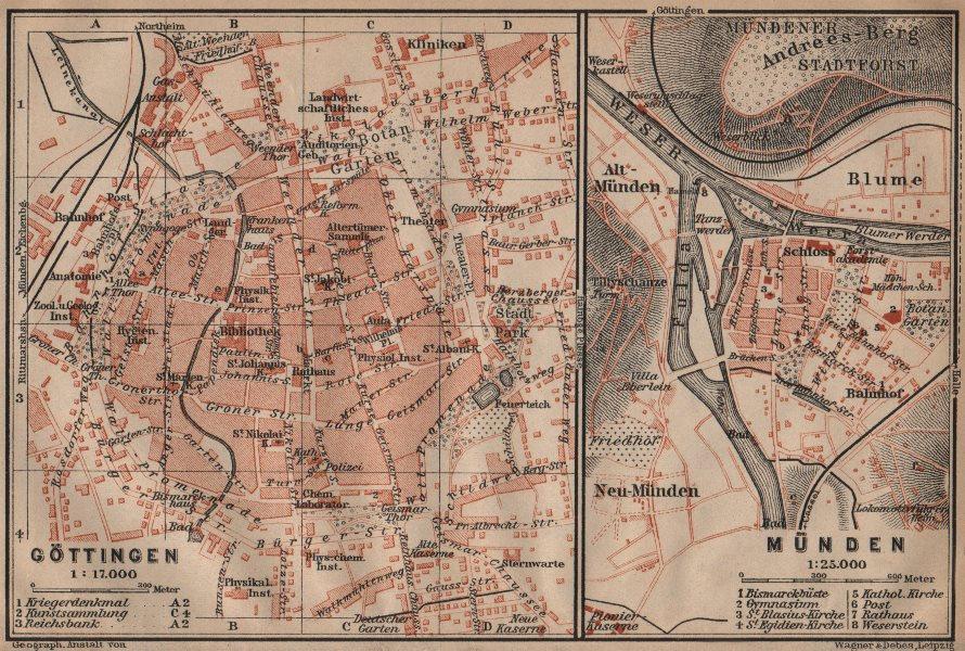 Associate Product GÖTTINGEN & MÜNDEN antique town city stadtplans. Lower Saxony. BAEDEKER 1910 map